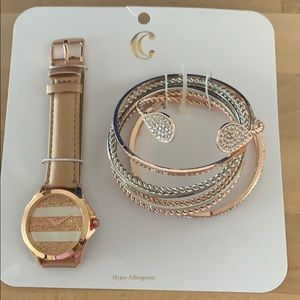Charming Charlie watch with bracelets